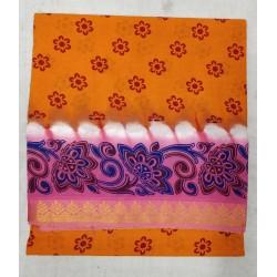 Madurai Sungudi Sarees - One side jari border with fancy prints