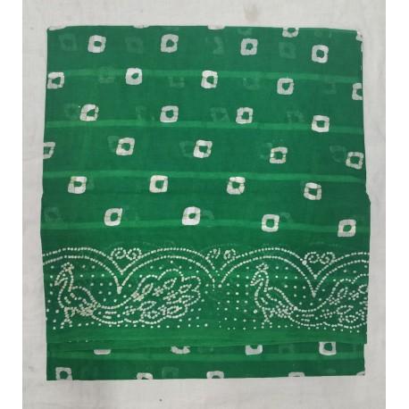 Madurai Sungudi Sarees - Double Side Without Jari Border with Wax Prints